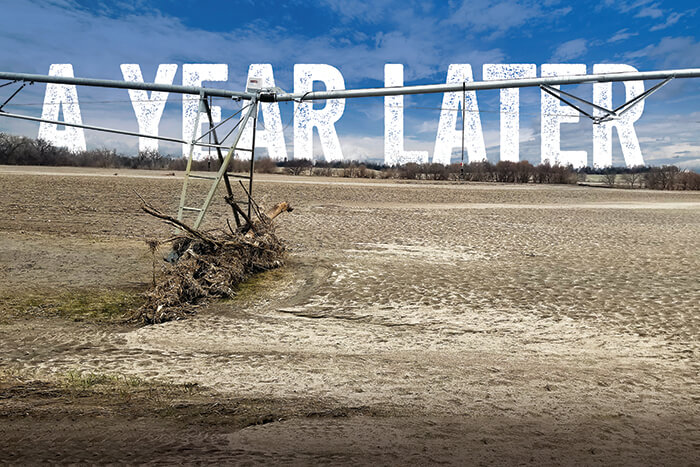 In the flooding of 2019, floodwaters receded leaving farmland covered with sand, sediment and all kinds of other debris. Irrigation equipment that has been hit by floating debris should be closely inspected for damage.