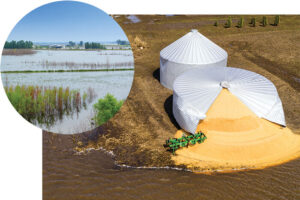 The flooding of 2019 left farmers with disasters such as a burst silo on an Iowa farm (right) and flooded fields and homesteads (left).