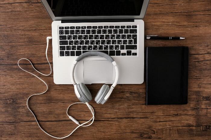 Laptop and headphones
