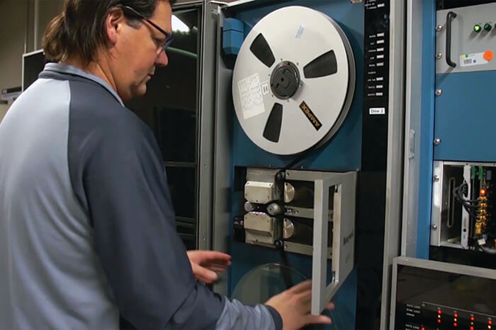 High-density digital tapes were used to store Landsat data in the 1980s and 1990s.